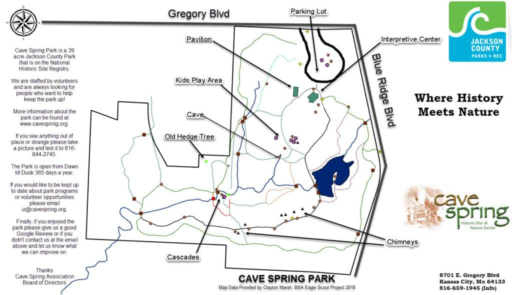 Cave Springs Park Map Kid Friendly Hiking