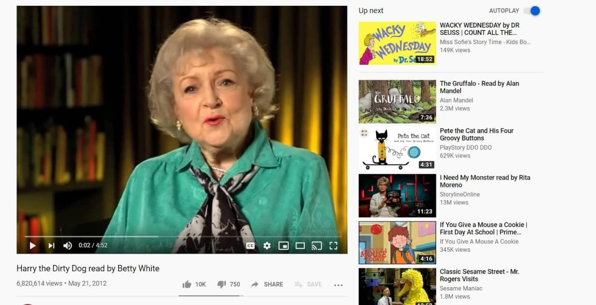 Betty White Storytime online