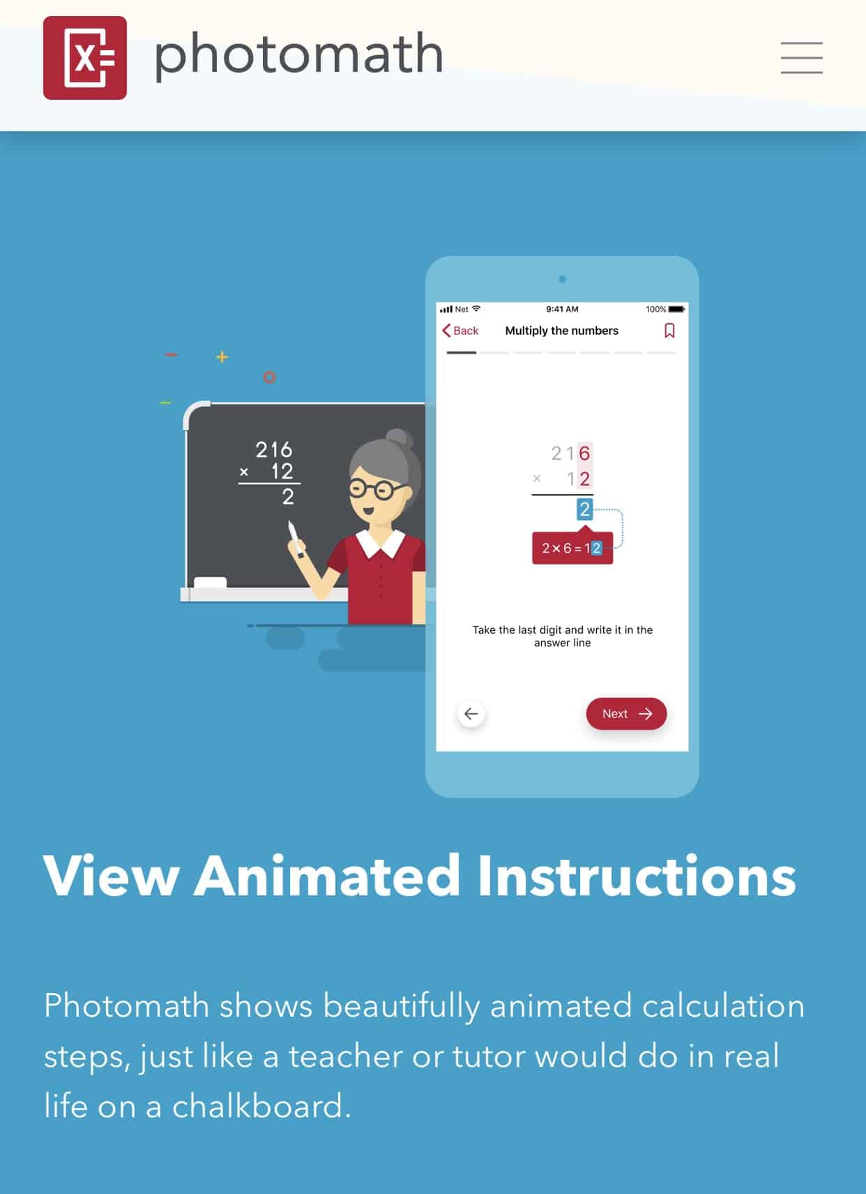 Photomath animated instructions